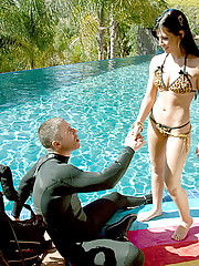 Mick is exhausted after diving practice with the beautiful Rebeca Linares and takes a quick nap next to the pool. After he wakes up, Mick is surprised to see Rebeca wearing a skimpy bikini and an eager smile. She doesn