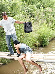 Teenage couple fucking publicly over a river