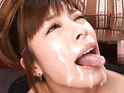 Chloe Fujisaki receives cumshots on her face after sucking cock