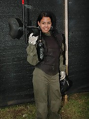 Gigi Spice gets in a sexy paintball match with Tania Spice