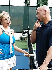 Derrick Pierce is trying to teach Katie Kox tennis but he doesn