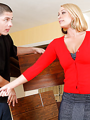 Mellanie is a hot cougar who has schemed a plan to fuck the contractors assistant who thinks hes just coming over to show her some wood samples. The only wood she wants is his and she wont take no for  answer and no one says no to her juicy ass.