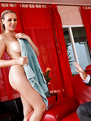 Getting home from work an exhausted Denis collapses on his couch, and is just loosening his tie when he feels a tap on his shoulder. Startled he turns around to find Julia Ann, a friend of his wifes whos supposed to be arriving for a visit the next day, d