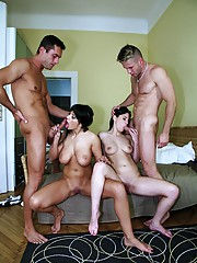 2 beautiful long leg euro babes gets drilled hard in these hot group sex reality pic set