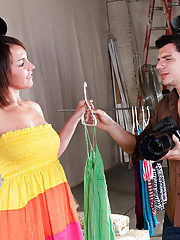 Denis is doing a fashion shoot with Bella, and has been getting more and more turned on while photographing her. Suggesting she change into a new dress, and that she may as well do it in front of him on set, for convenience sake of course, she gets a litt