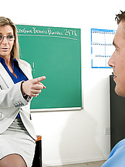 "Prof Jay has called Mr. Johnson in for a second interview.  He wants to be her new TA.  She knows him very well and has a few questions for him.  The main thing she wants to know is ""how well can you lick my pussy?"""