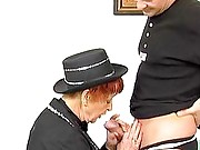 Ginger granny on her knees blowjob