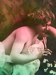 Some naked girls wearing flowers in thirties