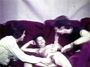 Two guys shagging one horny girl in seventies