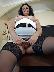 Back from the office in naughty ass revealing skirt and stockings