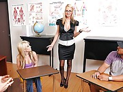 Blake is holding a sex education class for extra credit. The students quickly realize that this is not an ordinary class. Blake starts asking some personal questions about their sex life. Feeling uncomfortable, a couple of students leave the class, so Jor