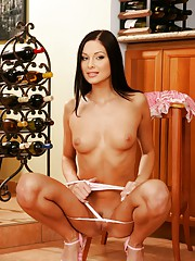 Evelyn Lory strips off her pink dress