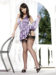 Susana Spears in a sexy lavendar dress and black stockings