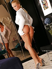 Silvia Saint in a white dress and panties