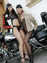 Silvia Saint hot lesbian action with Evelyn Lory on the motorbike