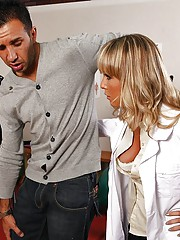 Keiran gets hurt while playing a football game, so he has to go see Dr. Moore. She has to perform a special treatment on his knee and asks Keiran to get naked. He finds it odd, but he undresses. She notices his big dick and the session turns into a pleasa