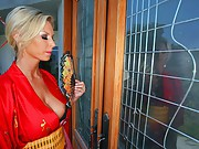 James has ordered his own Geisha!  When she arrives, James puts her to the test with a vigorous inspection of her breasts. Then he has her clean his kitchen, make his dinner and wash him. The Geisha loves nothing more than to please her master, but she ca