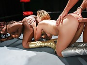 Jada and Jessie. Two wrestlers trying to show who has the best ass on the ring. They are ready for the fight and let the public know who