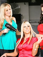 Check out these hot milfs take advantage of a horny dude in these hair salon 3some reality pics
