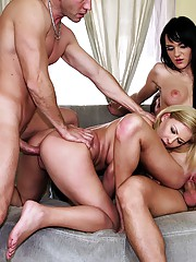 2 hot euro babes get drilled against the couch in this hot fucking amateur party