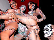 Amazing hot body paint club babes share some cock in this holloween group sex after hours club fucking 4 smoking hot amateur videos