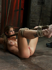 Hot MILF with huge tits is painfully bound, made to cum! Soon she is suspended & then made to squirt like a fountain. Category 5 bondage & Suspension