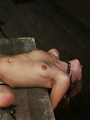 Twinkly-eyed blond hottie Tati Russo gets strapped to a box and fucked with every which way.