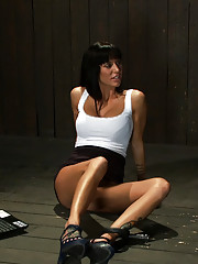 Beautiful thin MILF with long tan legs gets mummified with her perfect ass sticking out & up.  Gets caned, flogged, then fucked and fucked hard!