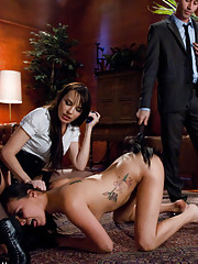 prison girl punished and ass fucked by Guard and Warden.