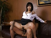 Yui Aina lifts up her skirt and rides his cock at the office