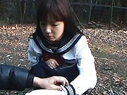 Minako Saotome Asian cutie humiliated on a dog collar leash