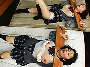 Ryo Tsujimoto schoolgirl in a head stock gets a messy facial