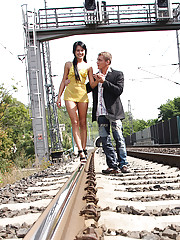 Chick loves daring anal shagging on a railway
