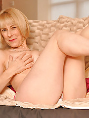 Hazel teases in strawberry panties and pink stilettos