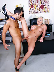 Beautiful hot big tits skyar get her blonde ass pussy fucked against the desk in these office fucking cumfaced facial pics