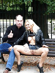 Couple publicly shagging on a bench outdoors