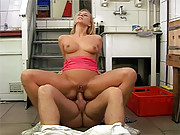 Hungry babe sucking a butchers solid sausage