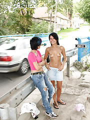 Two horny lesbian chicks pleasuring eachother