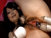 vibrator inserted into pussy then is inserted deep