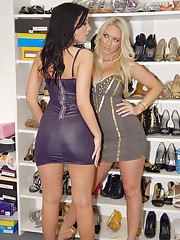 Super hot big round ass babe molly and her sexy girlfriend get and suck each others pussy in the stripper store after getting wet hot pics