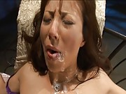 Honami Takasaka gets a messy facial as she is bound to the chair