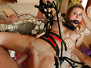 MILF Honey West fucked with a crazy fuck machine while tied up!
