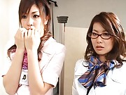 Japanese AV Model airline cutie pulls out his cock to suck