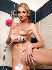Hot video and pics of gorgeous perky tity babe bambi masterbating and dilldo ducking after a hot shower