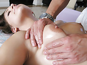 Hot slut gets weirded out by perverted masseuse!