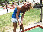 Nude fun on the minigolf