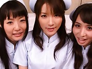 Maki Houjo cute nurses strip for some hot bukkake action