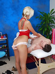 sexy 18 year old blonde gives more than just a massage