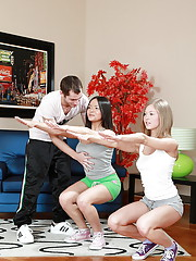 Lucky trainer guy fucks her two very hot students