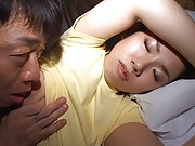 Chihiro Asou has her big tits fondled while she sleeps soundly